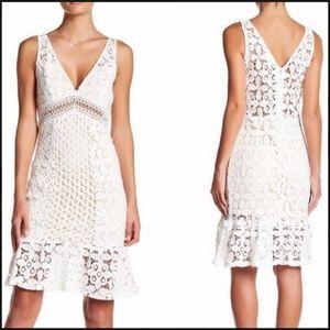 Soieblu White Crochet Lace Dress Sexy! Large Ivory